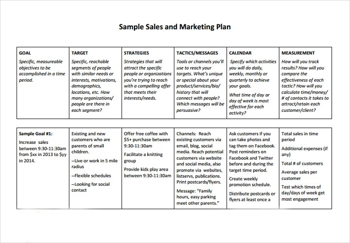 sales and marketing plan