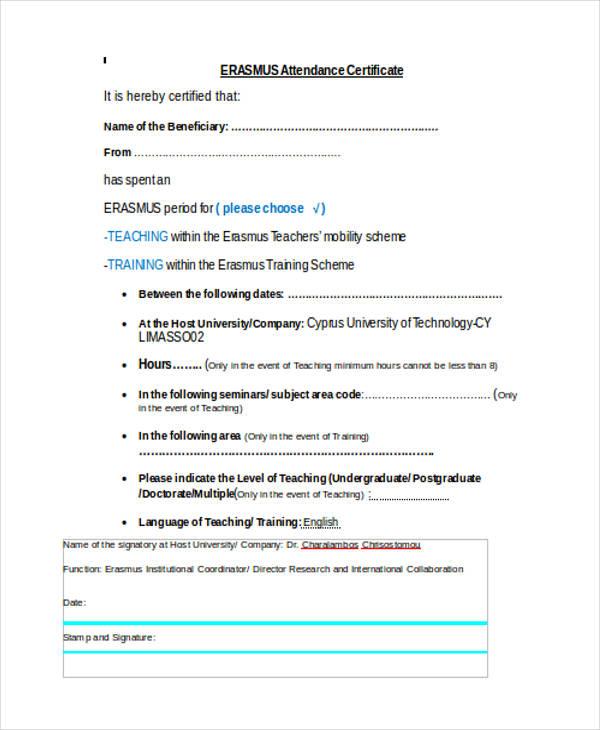 sample attendance certificate