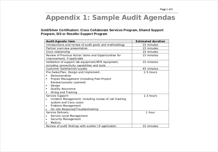 sample audit agenda