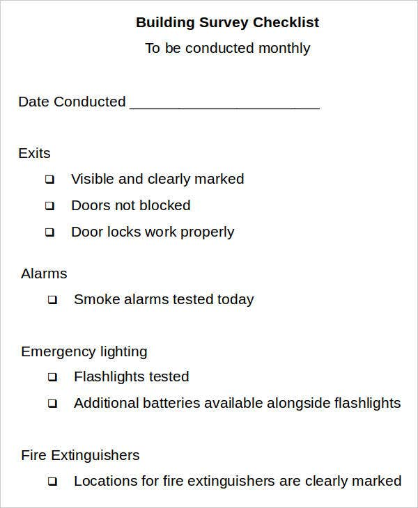 sample building survey checklist