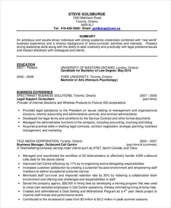 Retail Project Manager Resume Format. Business Resume Format In