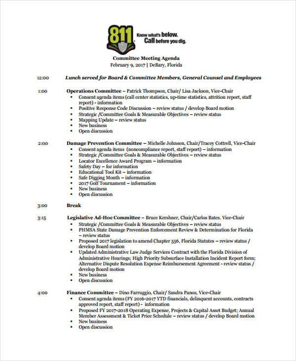 sample committee meeting agenda