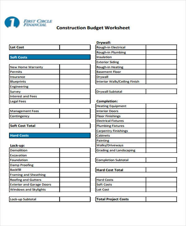 sample construction budget