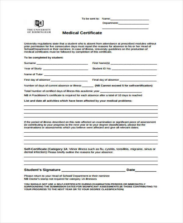 sample dental certificate