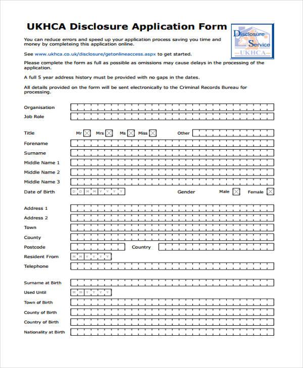 sample disclosure application