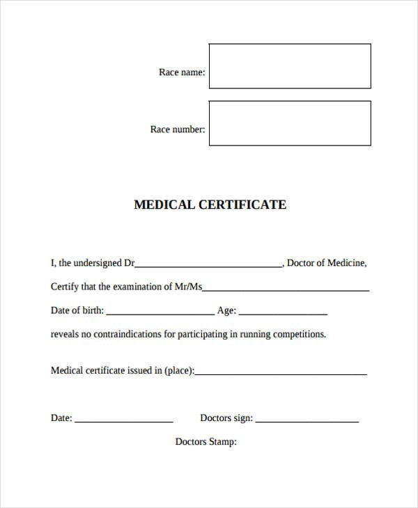 sample doctor medical certificate