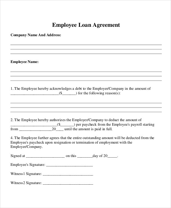 sample employee loan agreement