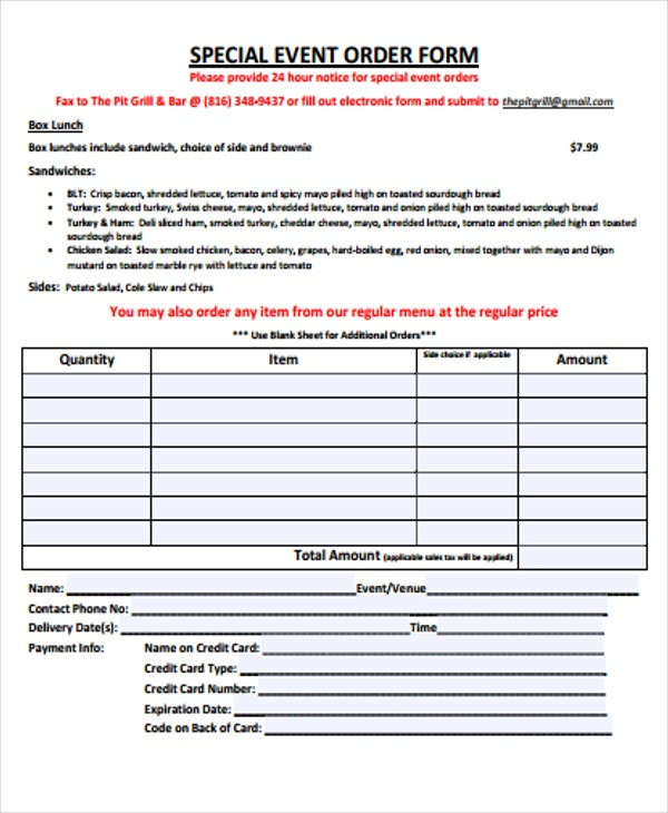 9  event order forms