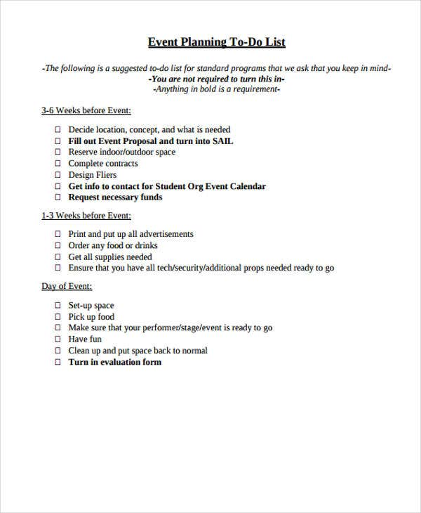 Event ToDo List Templates  Free Samples Examples Format