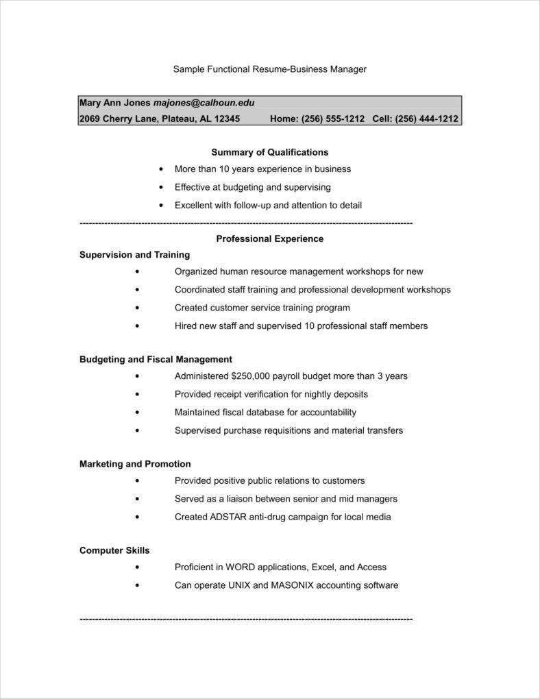 sample functional resume business manager 788x1020