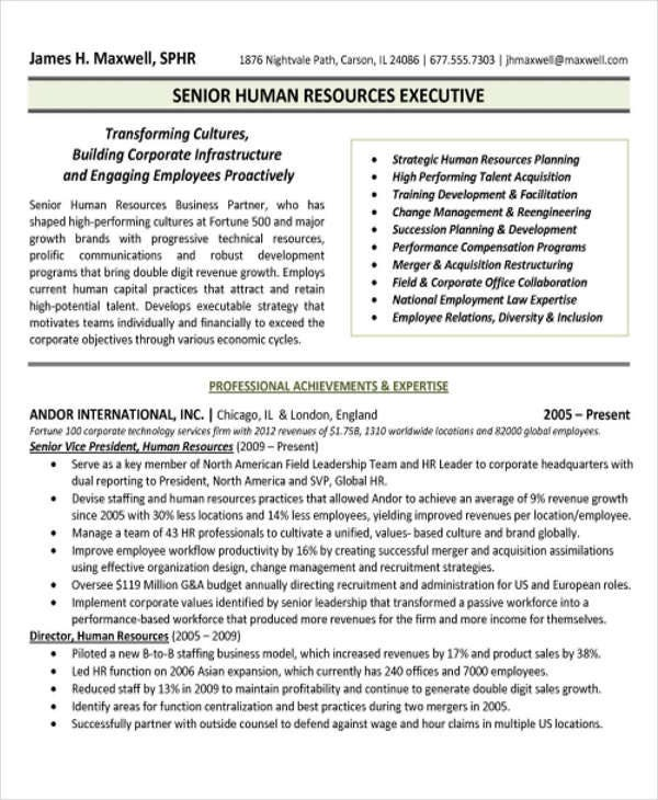 sample hr executive cv