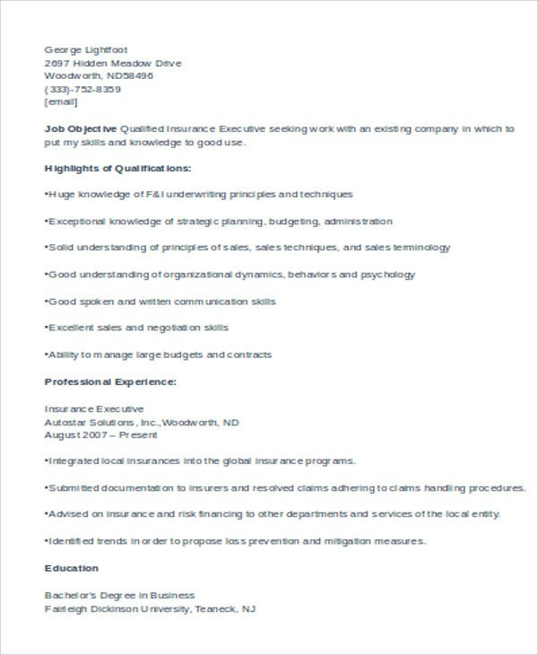 sample insurance executive resume