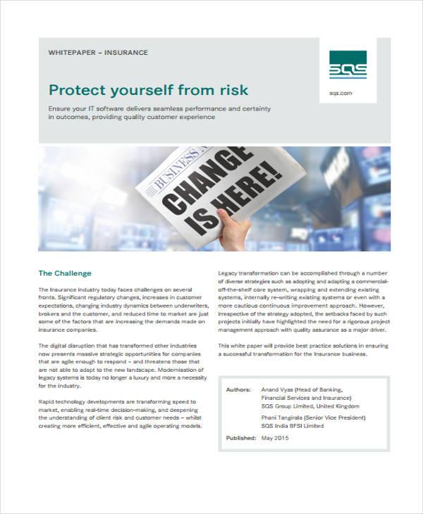 sample insurance white paper