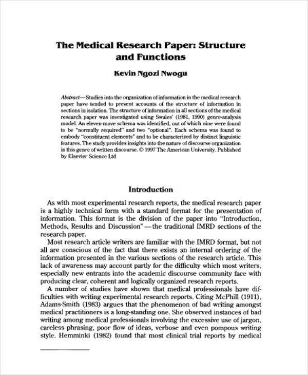 Merveilleux Sample Medical Research Paper