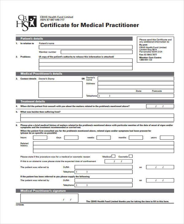 sample of certificate medical practitioner