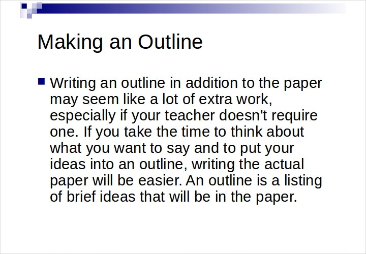 sample outline research paper
