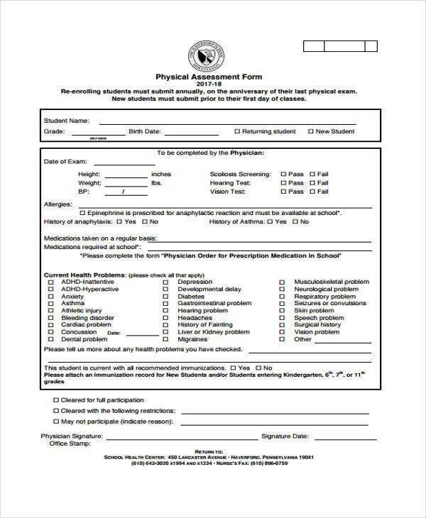 48  sample assessment forms