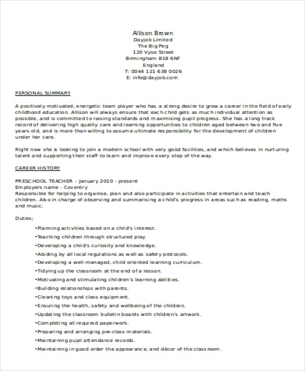 28 preschool resume objective exle of a preschool resume