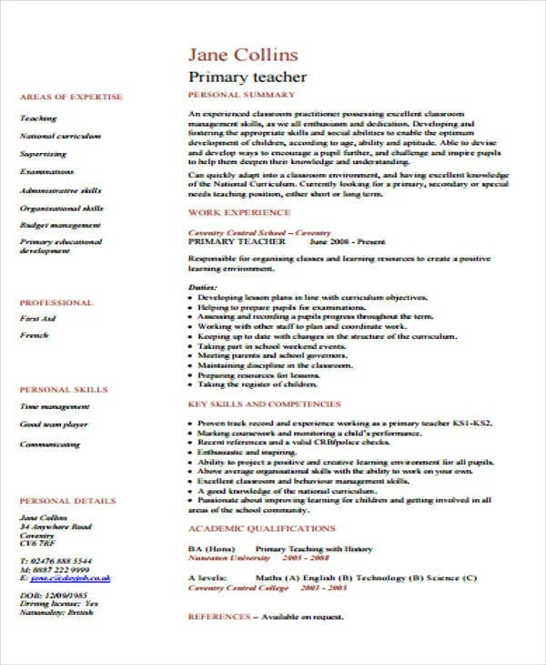 sample primary teacher cv