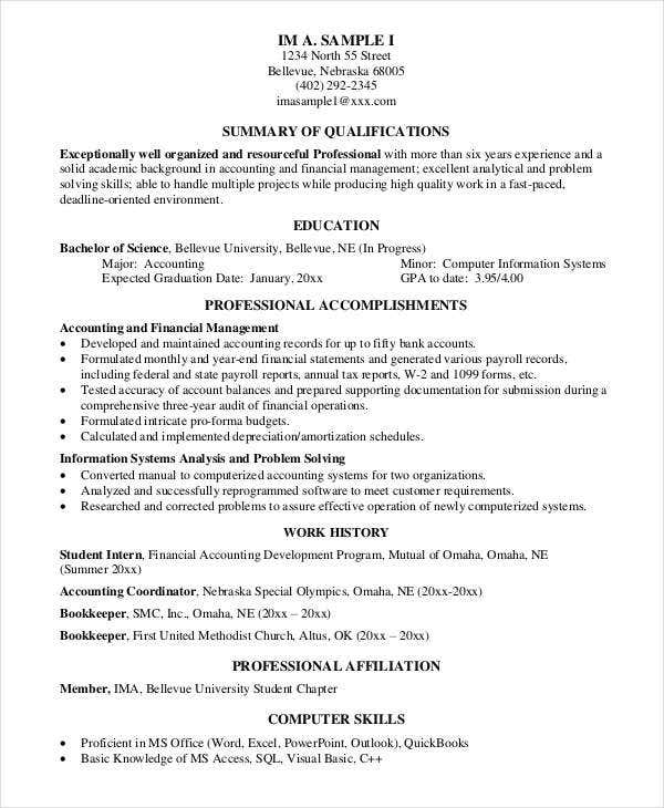sample professional resume - Format Of A Professional Resume