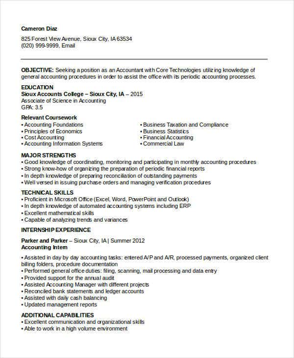 sample resume for new graduate accountant
