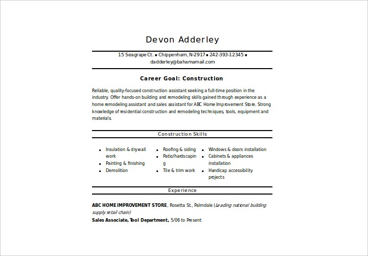 sample resume for construction worker