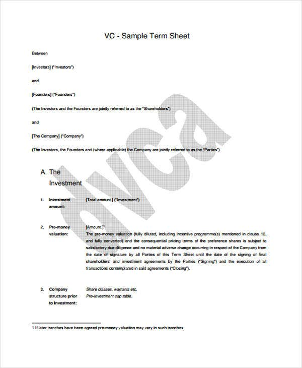 sample term sheet