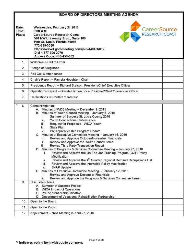 7 meeting agenda templates free premium templates for Annual board of directors meeting minutes template
