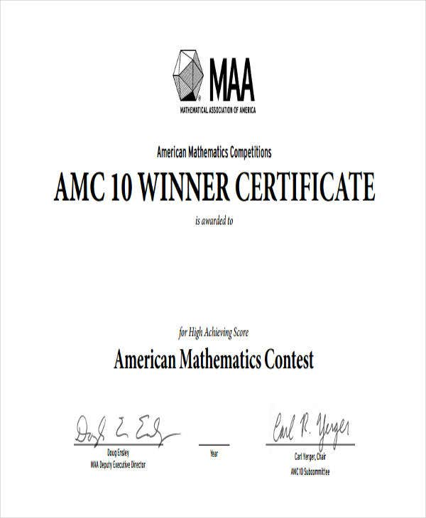 sample winner certificate