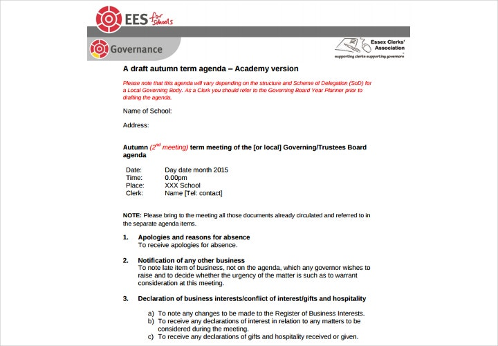school agenda example