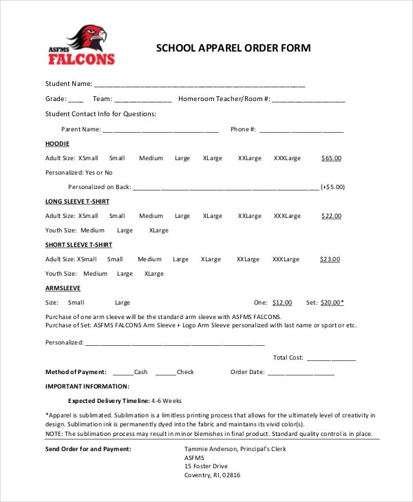 school apparel order form
