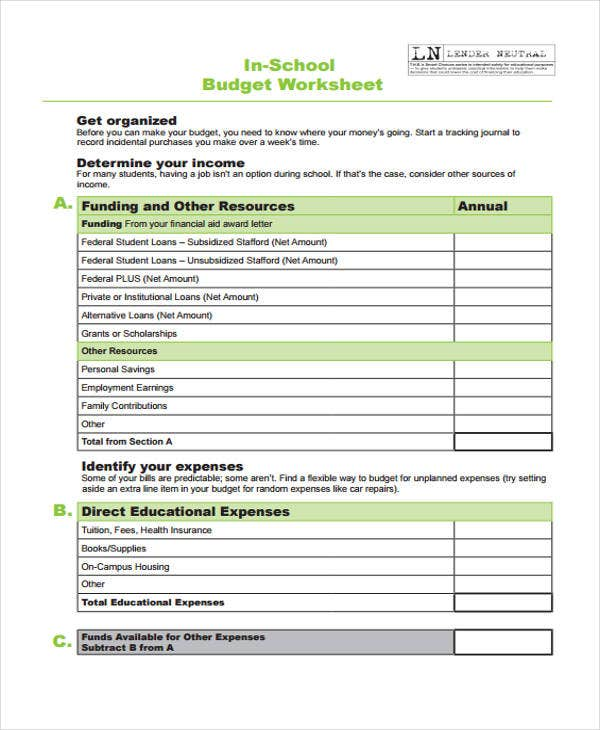 school budget worksheet