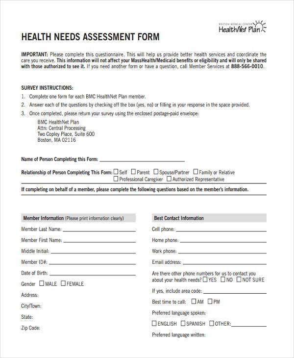 school health needs assessment