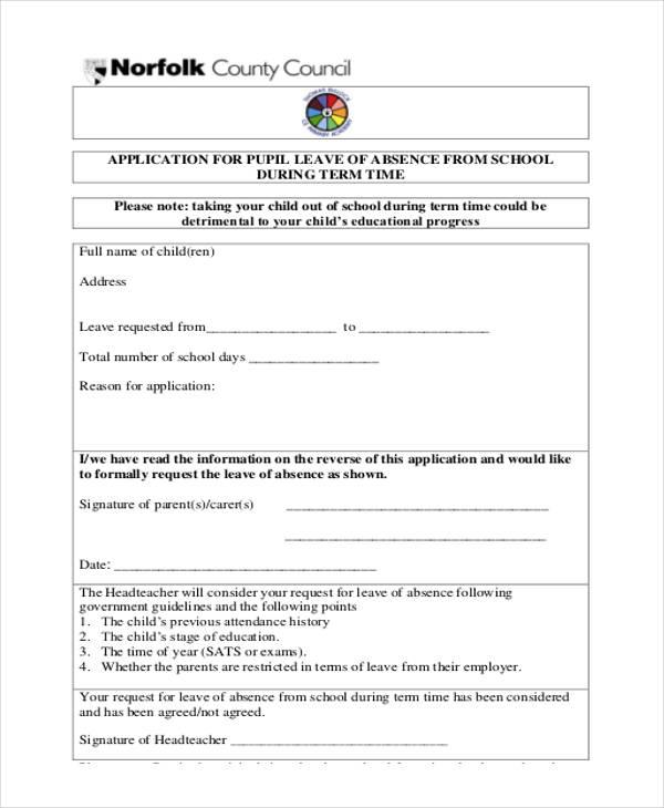 school leave application