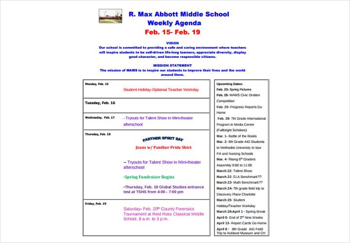 school weekly agenda