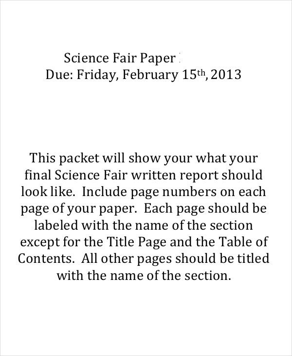 final science fair paper
