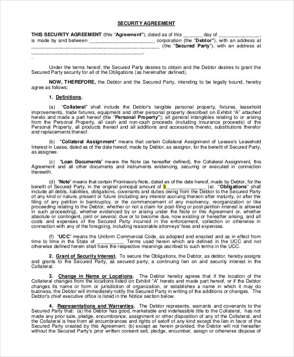 Security Agreement » Agreement Templates – Printable Samples