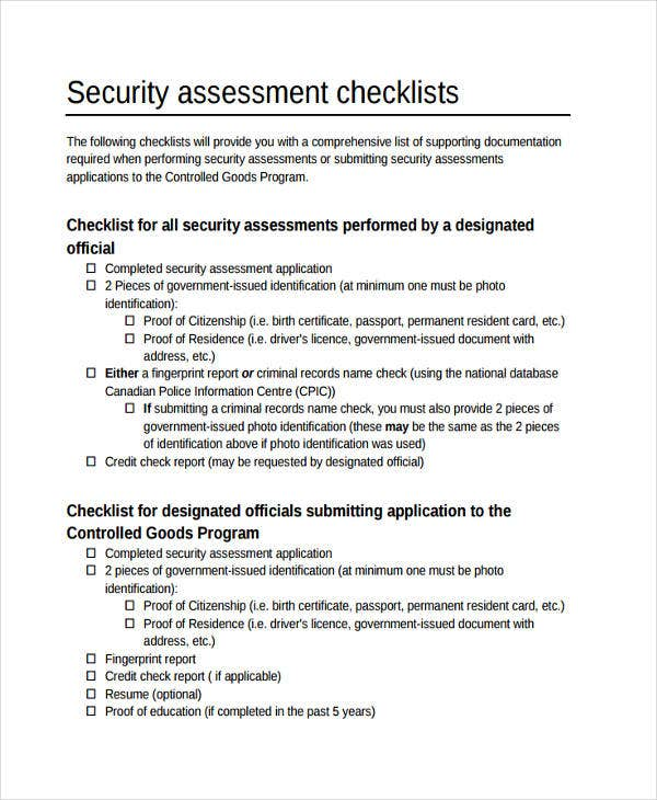 Security Assessment Template: 11 Assessment Checklist Templates
