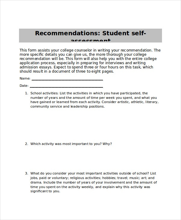 self assessment for student