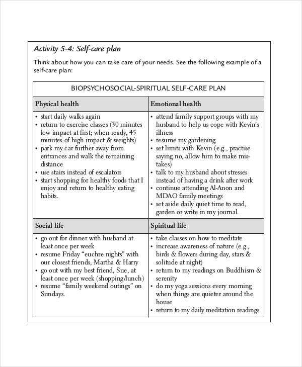 Care plan templates 13 free word pdf format download free premium templates for Self care plan template