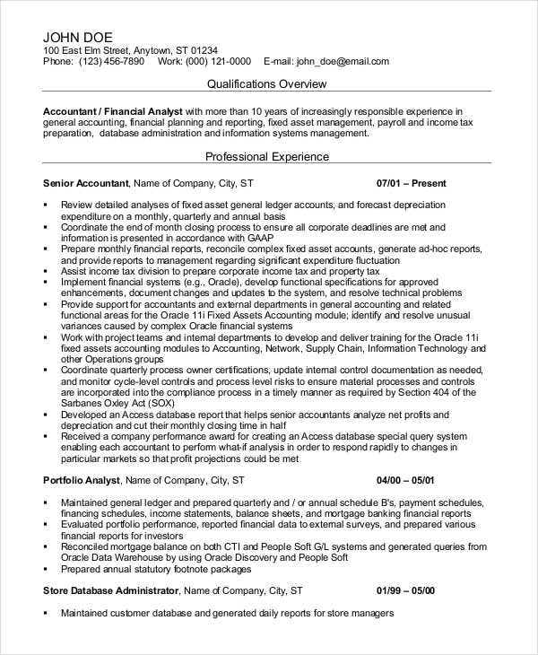 senior accountant professional resume