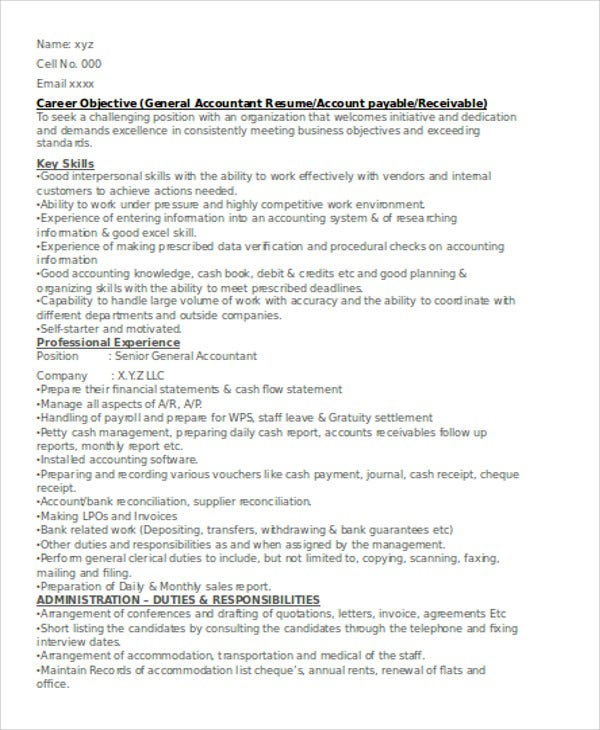 Senior Accountant Resume Objective Example