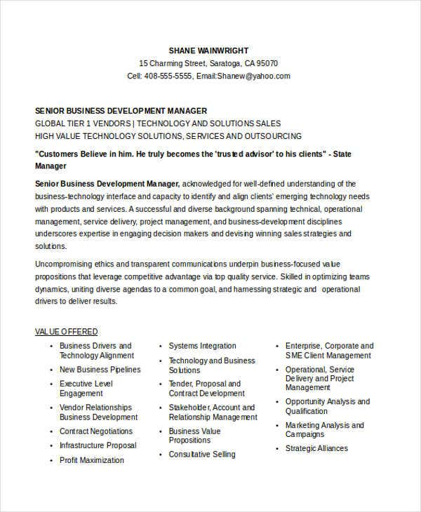 Senior Business Development Manager  Business Development Manager Resume