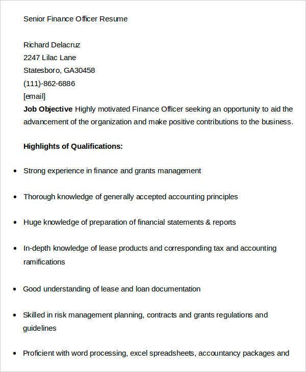 Senior Finance Officer Resume