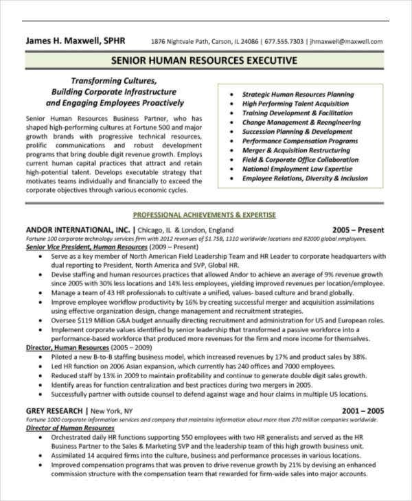 senior hr executive resume sample
