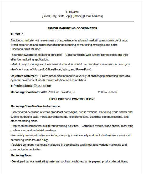senior marketing coordinator resume