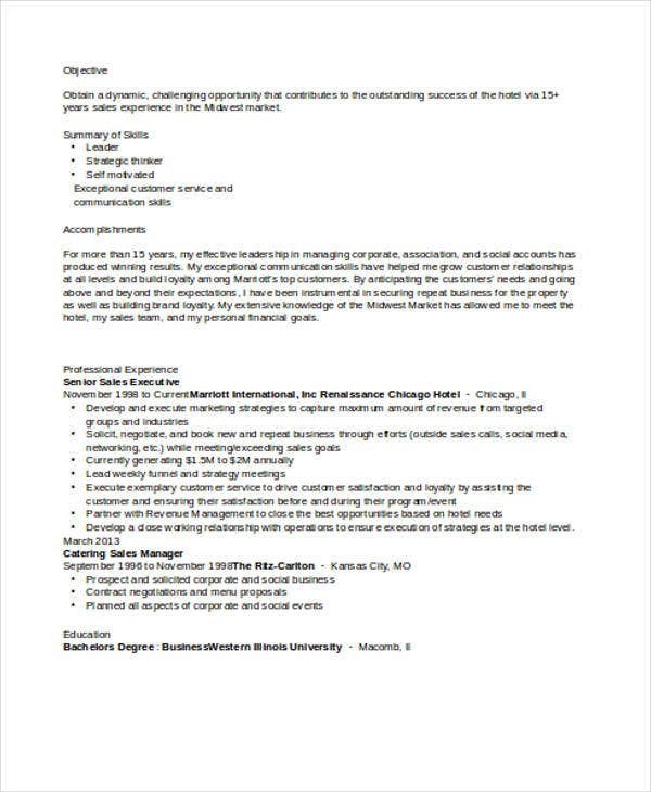 Senior Sales Executive Resume Samples: 26 Free Word, PDF Documents Download