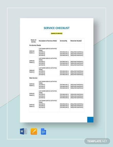 service checklist template1
