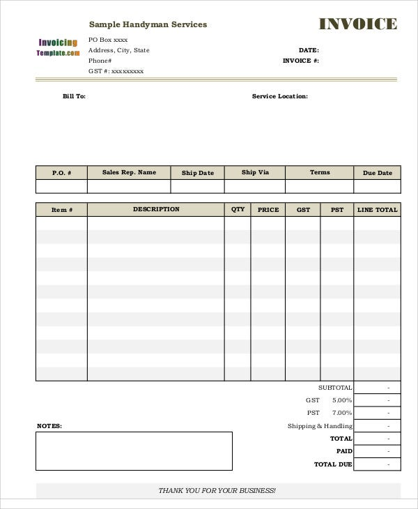 Freelance Design Invoice Pdf Handyman Invoice Templates   Free Word Pdf Format Download  Service Tax Invoice with Samples Of Proforma Invoice Excel Service Invoice Email Delivery Receipt Excel