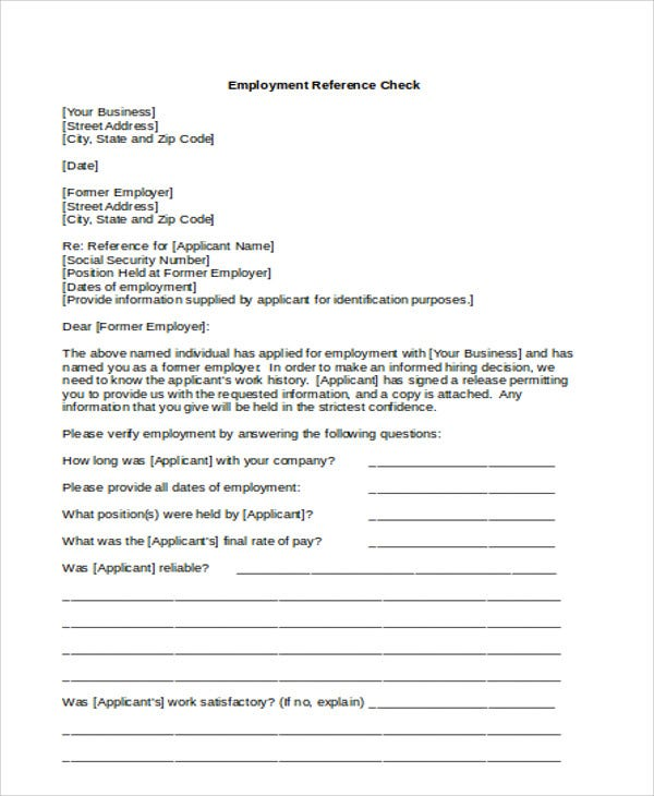 service letter for employee checking